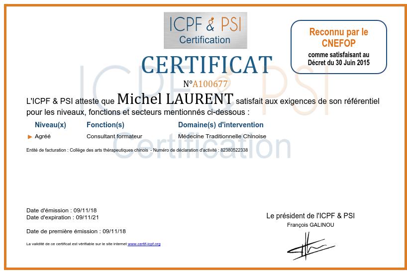 Certificat formateur MTC
